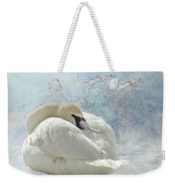 Trumpeter Textures #1 - Swan Feather Weekender Tote Bag