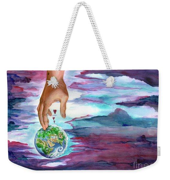 Weekender Tote Bag featuring the painting Trust Me by Nancy Cupp