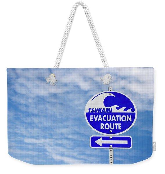 Tsunami Evacuation Route Sign Weekender Tote Bag