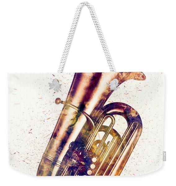 Tuba Abstract Watercolor Weekender Tote Bag