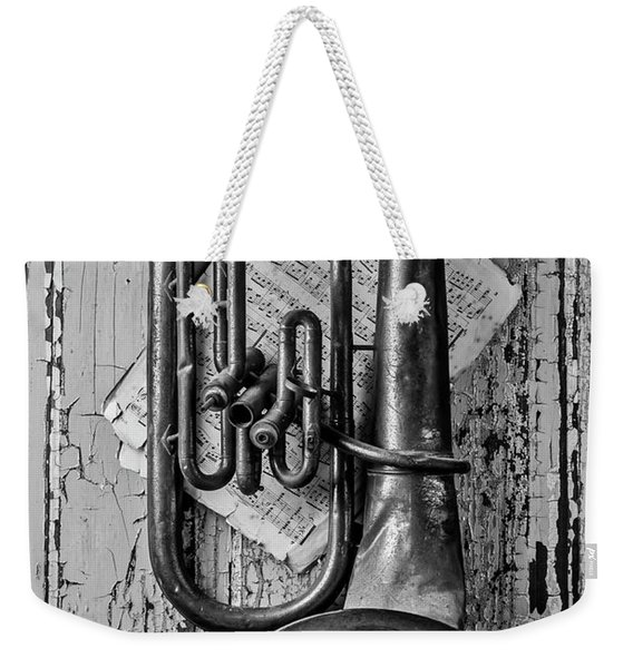 Tuba And Music On Door In Black And White Weekender Tote Bag
