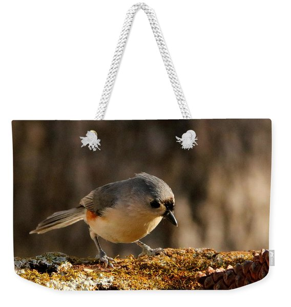 Tufted Titmouse In Fall Weekender Tote Bag