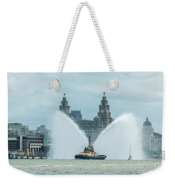 Tug Boat Fountain Weekender Tote Bag