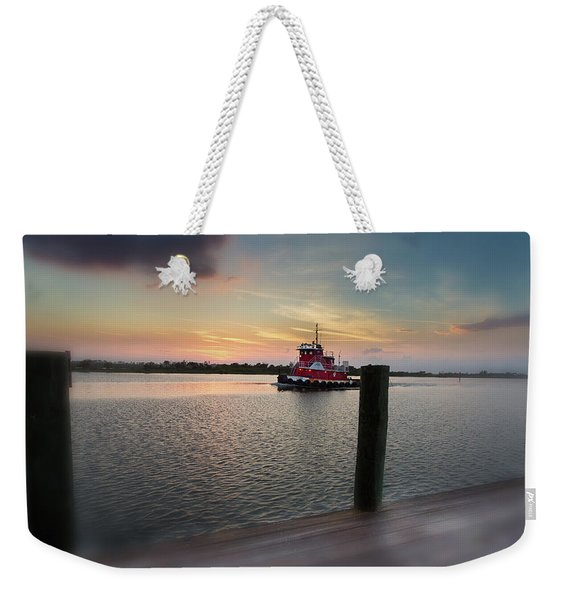 Tug Boat Sunset Weekender Tote Bag