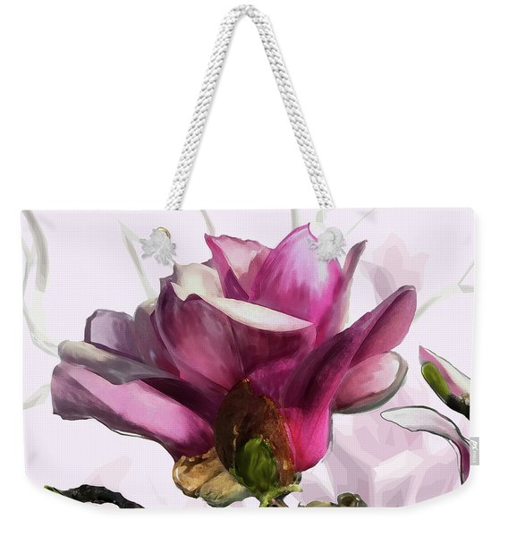 Weekender Tote Bag featuring the digital art Tulip Trees by Gina Harrison