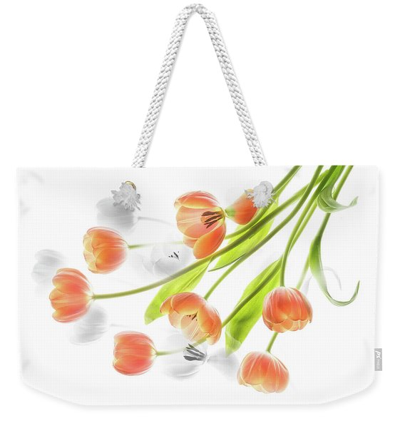 A Creative Presentation Of A Bouquet Of Tulips. Weekender Tote Bag