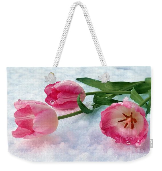 Tulips In Snow Weekender Tote Bag