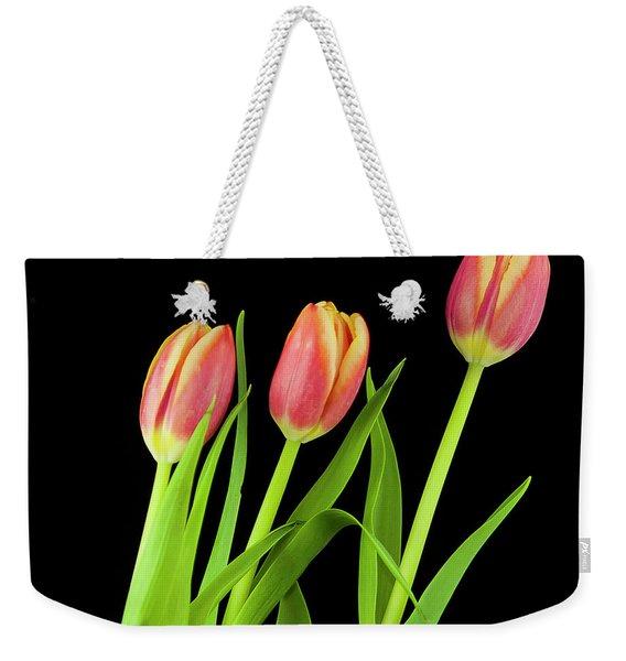 Tulips On Black Weekender Tote Bag