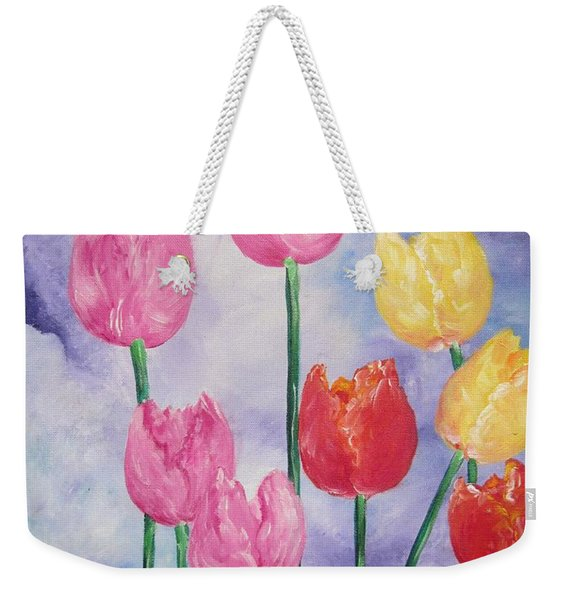 Ten  Simple  Tulips  Pink Red Yellow                                Flying Lamb Productions   Weekender Tote Bag