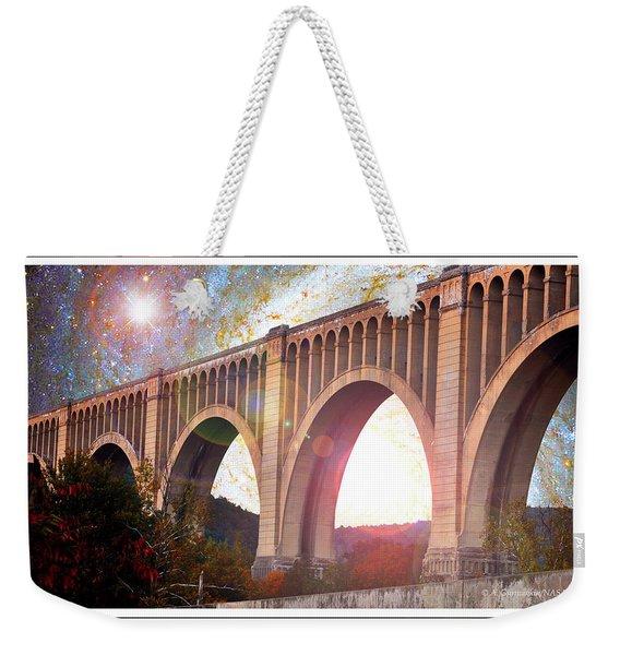 Tunkhannock Viaduct, Nicholson Bridge, Starry Night Fantasy Weekender Tote Bag