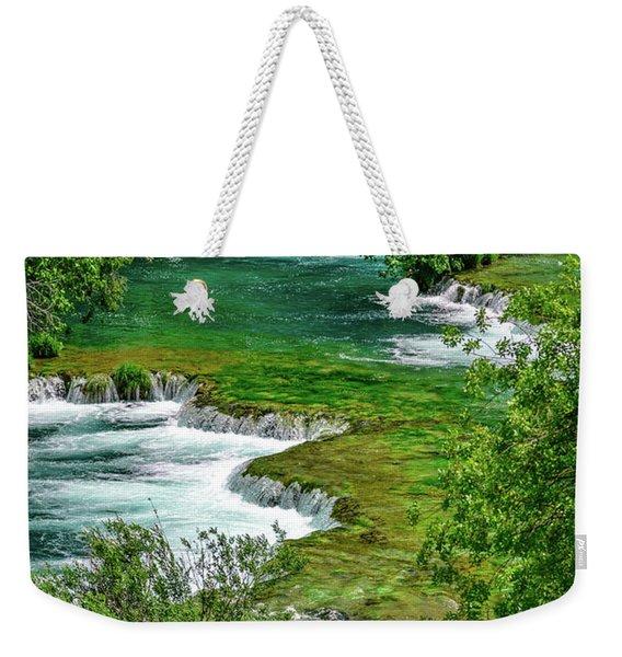 Turqouise Waterfalls Of Skradinski Buk At Krka National Park In Croatia Weekender Tote Bag