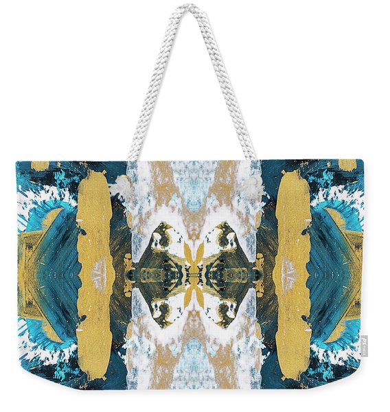 Turquoise Blue Art Pattern Weekender Tote Bag