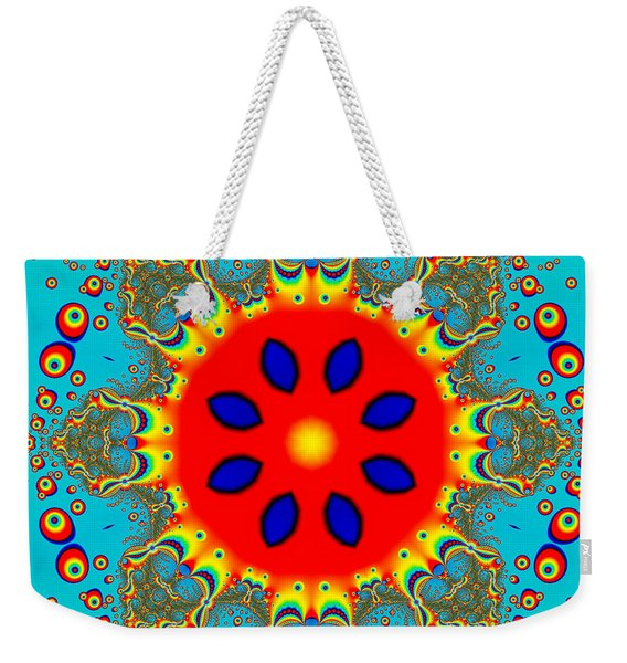Turquoise Red Fractal Mandala Weekender Tote Bag