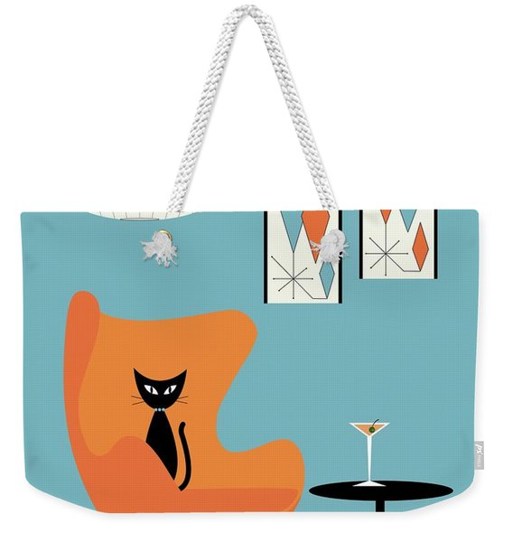 Weekender Tote Bag featuring the digital art Turquoise Room by Donna Mibus