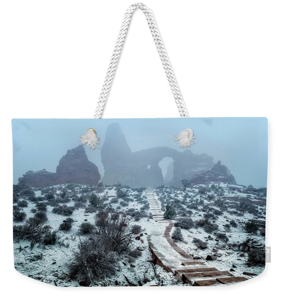 Turret Arch In The Fog Weekender Tote Bag