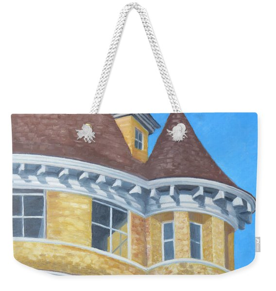 Weekender Tote Bag featuring the drawing Turrets Of Lawson Tower by Dominic White