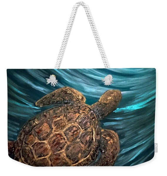 Turtle Wave Deep Blue Weekender Tote Bag