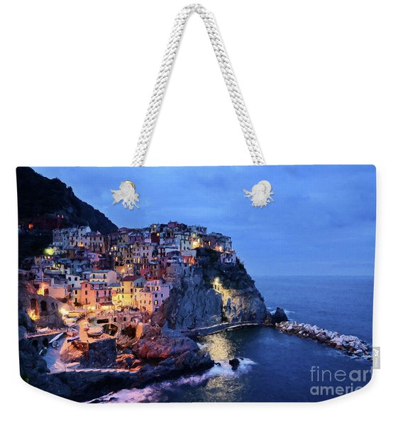 Weekender Tote Bag featuring the mixed media Tuscany Like Amalfi Cinque Terre Evening Lights by Rosario Piazza