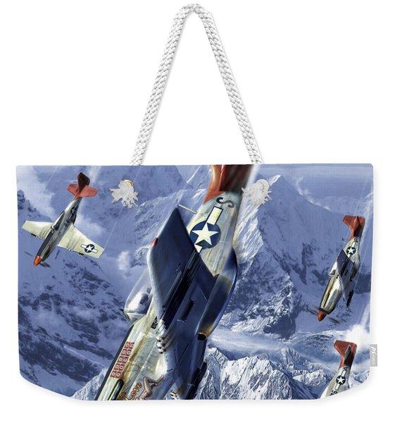 Tuskegee Airmen Flying Near The Alps Weekender Tote Bag