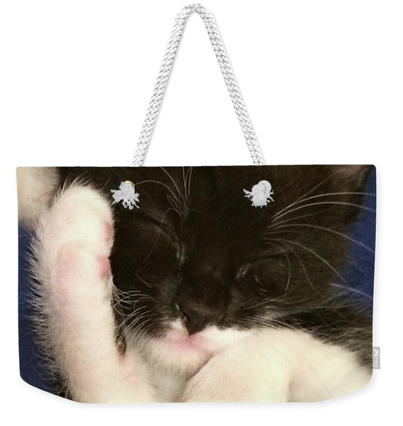 Tuxedo Kitten Snoozing Weekender Tote Bag