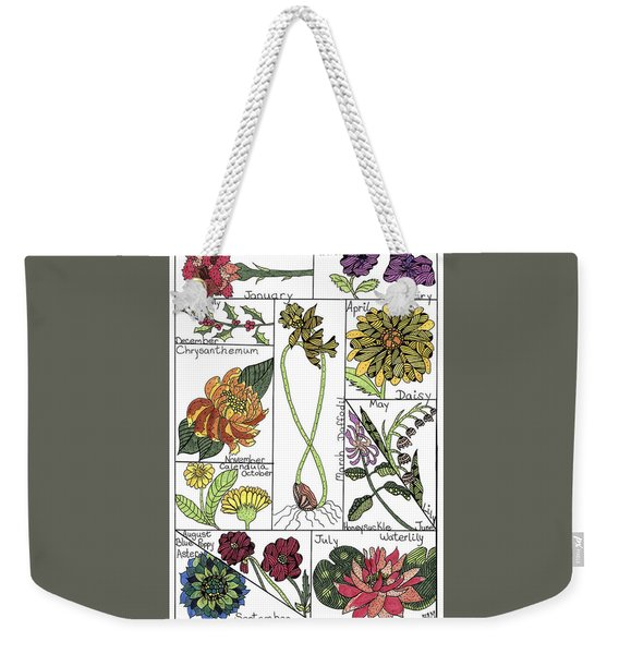 Weekender Tote Bag featuring the drawing Twelve Month Flower Box by Barbara McConoughey