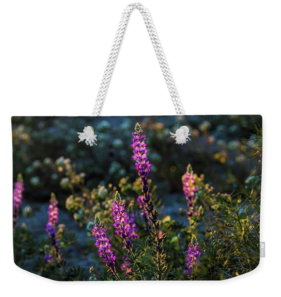 Weekender Tote Bag featuring the photograph Twilight Lupine by Laura Roberts