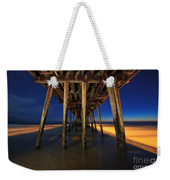 Weekender Tote Bag featuring the photograph Twilight Under The Imperial Beach Pier San Diego California by Sam Antonio Photography