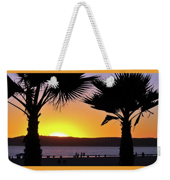 Twin Palms At Sunset Weekender Tote Bag