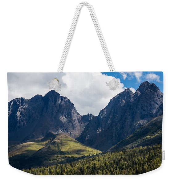 Weekender Tote Bag featuring the photograph Twin Peaks In Mid-summer by Tim Newton