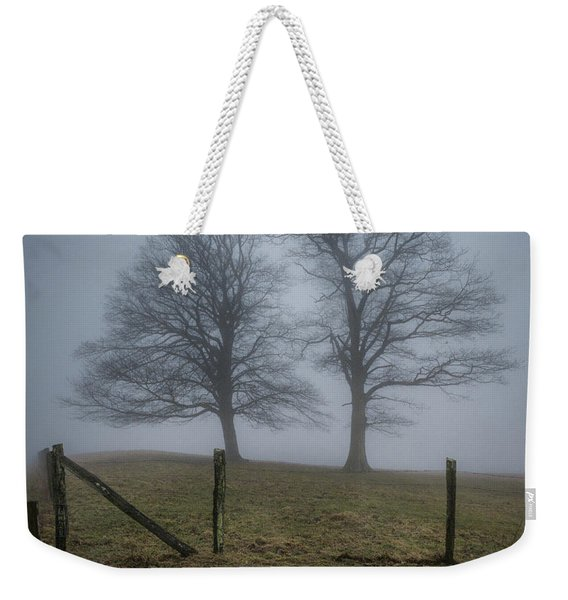 Twin Trees Late Fall Foggy Morning Weekender Tote Bag