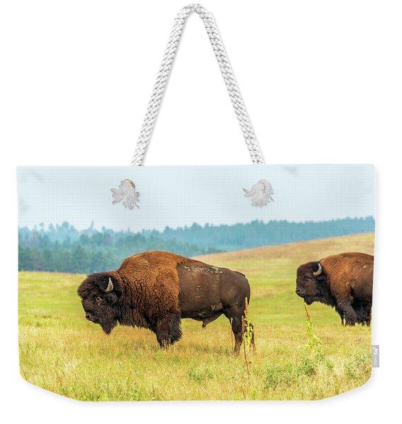 Two American Bison Weekender Tote Bag