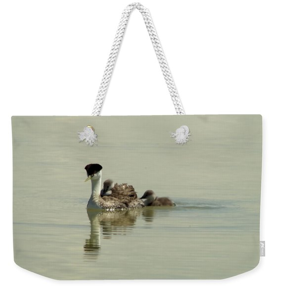 Mother Grebe And Her Babies Weekender Tote Bag