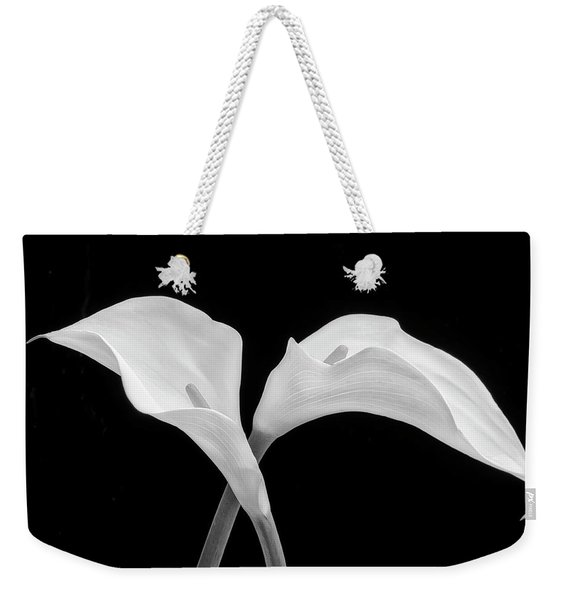 Two Beautiful Calla Lilies Black And White Weekender Tote Bag