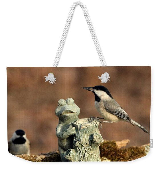 Two Black-capped Chickadees And Frog Weekender Tote Bag