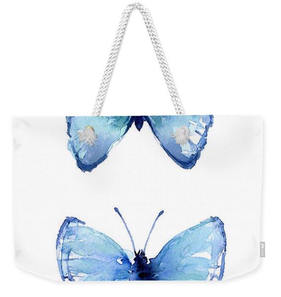 Two Blue Butterflies Watercolor Weekender Tote Bag