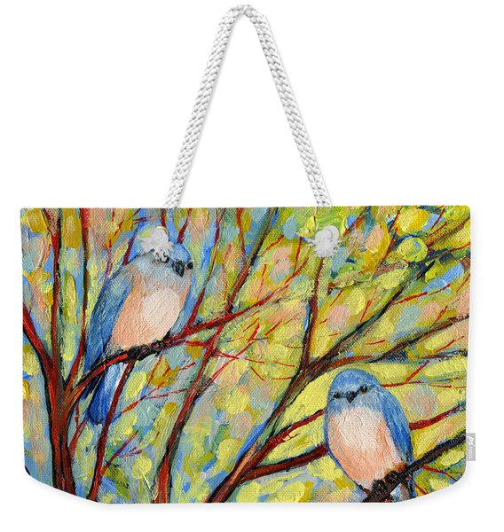 Two Bluebirds Weekender Tote Bag