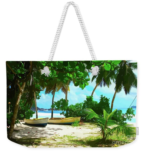 Two Boats On Tropical Beach Weekender Tote Bag