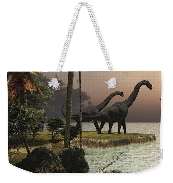 Two Brachiosaurus Dinosaurs Enjoy Weekender Tote Bag