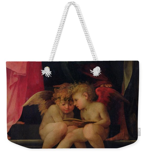 Two Cherubs Reading Detail From Madonna And Child With Saints Weekender Tote Bag