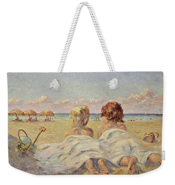 Two Children On The Beach Weekender Tote Bag