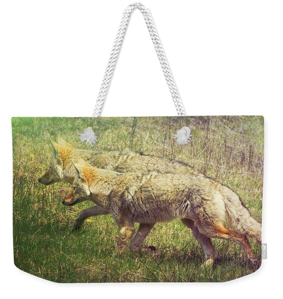 Two Coyotes Weekender Tote Bag