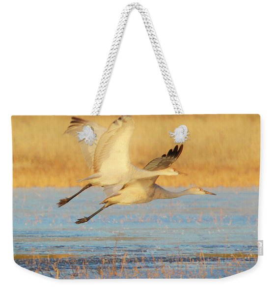 Two Cranes Cruising Weekender Tote Bag
