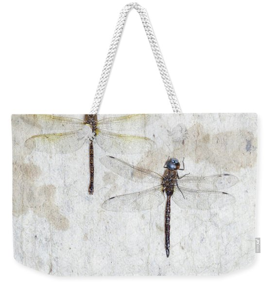 Two Dragonflies Weekender Tote Bag