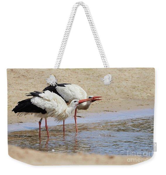 Two Drinking White Storks Weekender Tote Bag