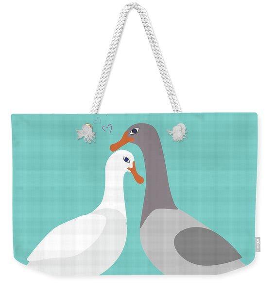 Two Ducks In Love Weekender Tote Bag