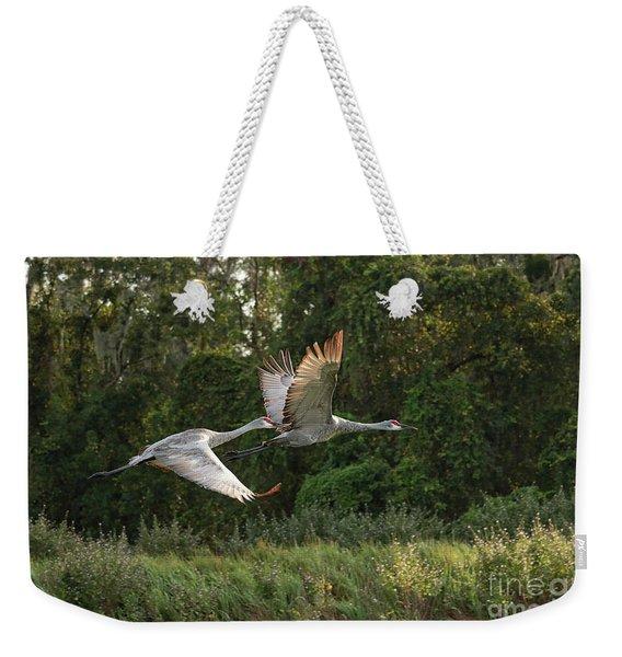 Two Florida Sandhill Cranes In Flight Weekender Tote Bag
