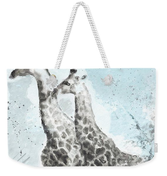 Two Giraffes- Art By Linda Woods Weekender Tote Bag