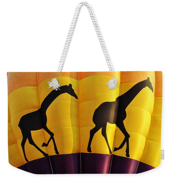 Two Giraffes Riding On A Hot Air Balloon Weekender Tote Bag