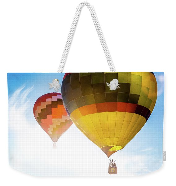 Two Hot Air Balloons Into The Sun Weekender Tote Bag