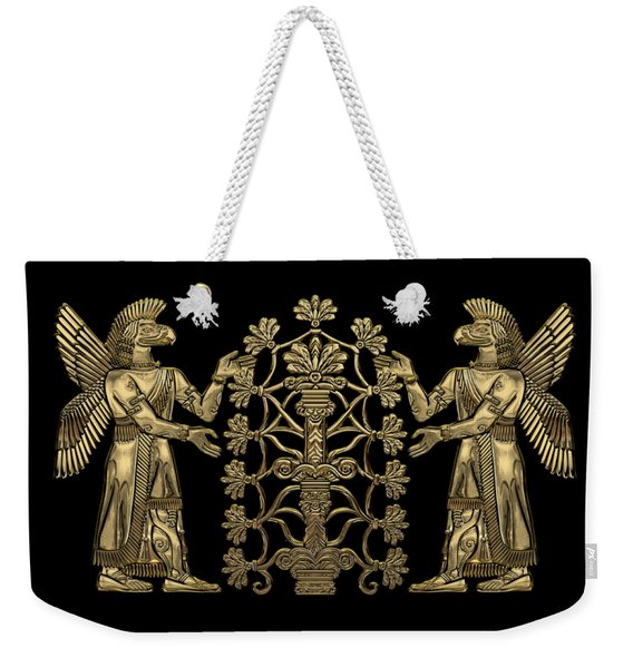 Two Instances Of Gold God Ninurta With Tree Of Life Over Black Canvas Weekender Tote Bag